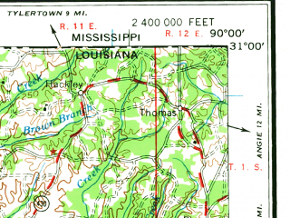 Reduced fragment of topographic map en--usgs--250k--068664--(1961)--N031-00_W092-00--N030-00_W090-00 in area of Lake Maurepas; towns and cities Baton Rouge, Kenner, Laplace, New Iberia, Hammond