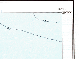 Reduced fragment of topographic map en--usgs--250k--068665--(1956)--N029-00_W096-00--N028-00_W094-00 in area of Cedar Lake, Lake Austin; towns and cities Bay City, Freeport, Oyster Creek, Quintana, Surfside Beach