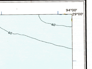 Reduced fragment of topographic map en--usgs--250k--068665--(1958)--N029-00_W096-00--N028-00_W094-00 in area of Cedar Lake, Lake Austin; towns and cities Freeport, Bay City, Jones Creek, Oyster Creek, Quintana