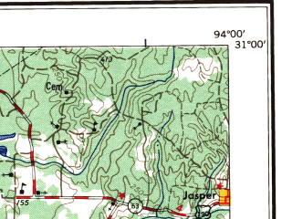 Reduced fragment of topographic map en--usgs--250k--068667--(1957)--N031-00_W096-00--N030-00_W094-00 in area of Lake Livingston, Lake Conroe; towns and cities Beaumont, The Woodlands, Conroe, Huntsville, Vidor