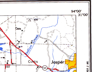 Reduced fragment of topographic map en--usgs--250k--068667--(1984)--N031-00_W096-00--N030-00_W094-00 in area of Lake Livingston, Lake Conroe; towns and cities Beaumont, Huntsville, Spring, Kingwood, Vidor
