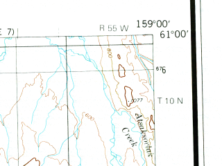 Reduced fragment of topographic map en--usgs--250k--068672--(1980)--N061-00_W162-00--N060-00_W159-00 in area of Eek Lake, Kisaralik Lake, Heart Lake; towns and cities Kwethluk, Napakiak, Napaskiak
