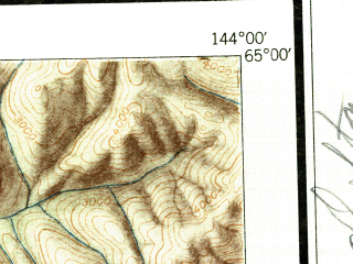 Reduced fragment of topographic map en--usgs--250k--068673--(1950)--N065-00_W147-00--N064-00_W144-00 in area of Harding Lake, Quartz Lake, Volkmar Lake; towns and cities Big Delta, Delta Junction, Harding Lake