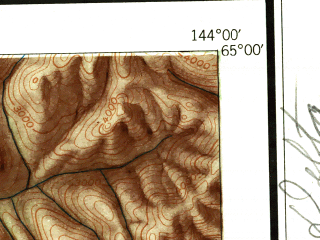 Reduced fragment of topographic map en--usgs--250k--068673--(1951)--N065-00_W147-00--N064-00_W144-00 in area of Harding Lake, Quartz Lake, Volkmar Lake; towns and cities Big Delta, Delta Junction, Harding Lake