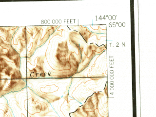 Reduced fragment of topographic map en--usgs--250k--068673--(1958)--N065-00_W147-00--N064-00_W144-00 in area of Harding Lake, Quartz Lake, Volkmar Lake; towns and cities Big Delta, Delta Junction, Harding Lake
