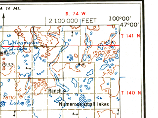Reduced fragment of topographic map en--usgs--250k--068678--(1958)--N047-00_W102-00--N046-00_W100-00 in area of Long Lake, Lake Tschida, Goose Lake; towns and cities Bismarck, Mandan, Selfridge, Carson, Leith