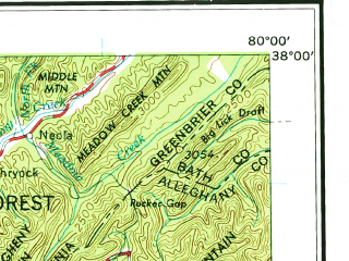 Reduced fragment of topographic map en--usgs--250k--068682--(1957)--N038-00_W082-00--N037-00_W080-00; towns and cities Beckley, Blacksburg, Cave Spring, Salem, Bluefield