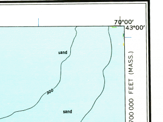 Reduced fragment of topographic map en--usgs--250k--068685--(1961)--N043-00_W072-00--N042-00_W070-00 in area of Massachusetts Bay, Boston Bay; towns and cities Boston, Worcester, Lowell, Lawrence, Fitchburg