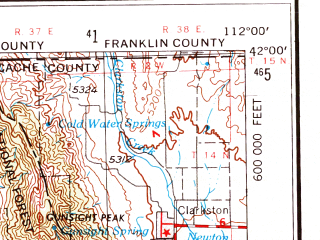 Reduced fragment of topographic map en--usgs--250k--068689--(1954)--N042-00_W114-00--N041-00_W112-00; towns and cities Clearfield, Roy, Brigham City, Clinton, Riverdale