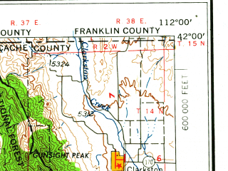 Reduced fragment of topographic map en--usgs--250k--068689--(1962)--N042-00_W114-00--N041-00_W112-00; towns and cities Clearfield, Roy, Brigham City, Sunset, Clinton