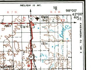 Reduced fragment of topographic map en--usgs--250k--068691--(1955)--N042-00_W100-00--N041-00_W098-00 in area of Middle Loup, North Loup, Calamus Reservoir; towns and cities Ashton, Central City, Scotia