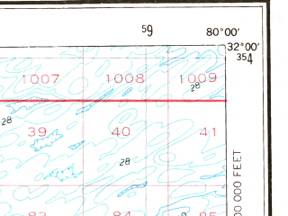 Reduced fragment of topographic map en--usgs--250k--068694--(1978)--N032-00_W082-00--N031-00_W080-00; towns and cities Hinesville, Brunswick, Fort Stewart, St. Simons, Jesup