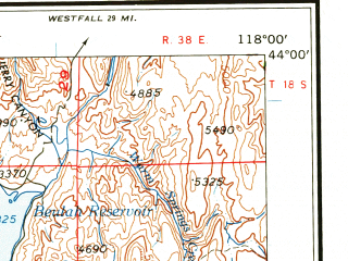 Reduced fragment of topographic map en--usgs--250k--068697--(1959)--N044-00_W120-00--N043-00_W118-00 in area of Malheur Lake, S. Fk. Malheur, N. Fk. Malheur; towns and cities Hines, Burns