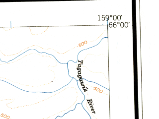 Reduced fragment of topographic map en--usgs--250k--068699--(1951)--N066-00_W162-00--N065-00_W159-00; towns and cities Buckland