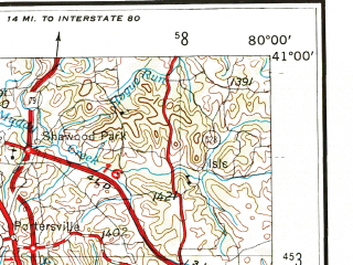 Reduced fragment of topographic map en--usgs--250k--068700--(1957)--N041-00_W082-00--N040-00_W080-00 in area of Tuscarawas; towns and cities Canton, Steubenville, New Castle, Washington, Mount Lebanon