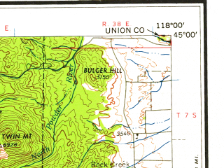 Reduced fragment of topographic map en--usgs--250k--068701--(1959)--N045-00_W120-00--N044-00_W118-00 in area of Unity Reservoir; towns and cities John Day, Unity, Long Creek