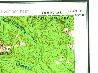 Reduced fragment of topographic map en--usgs--250k--068702--(1963)--N049-00_W126-00--N048-00_W124-00 in area of Cowichan Lake, Ozette Lake, Tsusiat Lake; towns and cities Bamfield, Port Albion, Caycuse