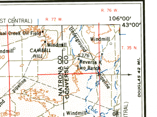 Reduced fragment of topographic map en--usgs--250k--068705--(1958)--N043-00_W108-00--N042-00_W106-00 in area of Pathfinder Reservoir, North Platte, North Platte; towns and cities Casper, Mountain View, Bairoil, Bar Nunn