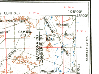 Reduced fragment of topographic map en--usgs--250k--068705--(1962)--N043-00_W108-00--N042-00_W106-00 in area of Pathfinder Reservoir, North Platte, North Platte; towns and cities Casper, Bairoil, Bar Nunn, Evansville
