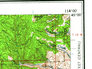 Reduced fragment of topographic map en--usgs--250k--068707--(1960)--N045-00_W116-00--N044-00_W114-00 in area of Deadwood Reservoir, Redfish Lake; towns and cities Stanley, Challis, Clayton