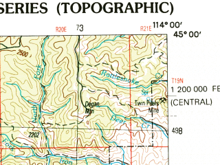 Reduced fragment of topographic map en--usgs--250k--068707--(1989)--N045-00_W116-00--N044-00_W114-00 in area of Deadwood Reservoir, Redfish Lake; towns and cities Stanley, Challis, Clayton