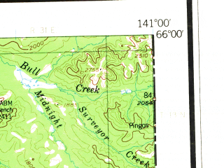 Reduced fragment of topographic map en--usgs--250k--068710--(1951)--N066-00_W144-00--N065-00_W141-00