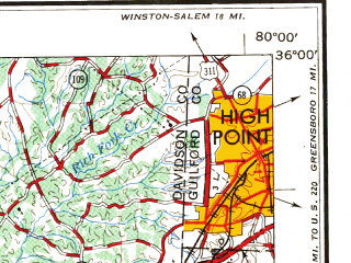 Reduced fragment of topographic map en--usgs--250k--068711--(1954)--N036-00_W082-00--N035-00_W080-00 in area of Lake Norman; towns and cities Charlotte, Hickory, Gastonia, Salisbury, Kannapolis