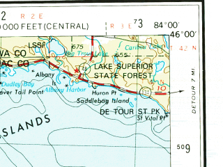 Reduced fragment of topographic map en--usgs--250k--068713--(1955)--N046-00_W086-00--N045-00_W084-00 in area of Little Traverse Bay, Lake Charlevoix, Mullet Lake; towns and cities Petoskey, Pellston, Boyne Falls, Central Lake