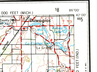 Reduced fragment of topographic map en--usgs--250k--068714--(1953)--N042-00_W088-00--N041-00_W086-00 in area of Kankakee; towns and cities Chicago, Gary, South Bend, Hammond, Kankakee