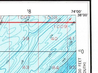 Reduced fragment of topographic map en--usgs--250k--068715--(1984)--N038-00_W076-00--N037-00_W074-00; towns and cities Keller, Wachapreague, Lawsonia