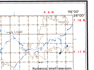 Reduced fragment of topographic map en--usgs--250k--068721--(1957)--N036-00_W100-00--N035-00_W098-00 in area of Ft. Cobb Lake, Foss Lake, Lake Chickasha; towns and cities Elk City, Weatherford, Clinton, Anadarko, Putnam