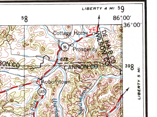 Reduced fragment of topographic map en--usgs--250k--068726--(1956)--N036-00_W088-00--N035-00_W086-00 in area of Tims Ford Lake, Laurel Hill Lake; towns and cities Franklin, Murfreesboro, Columbia, Brentwood, Lawrenceburg