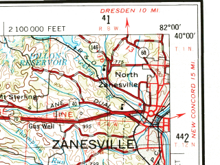 Reduced fragment of topographic map en--usgs--250k--068727--(1967)--N040-00_W084-00--N039-00_W082-00; towns and cities Columbus, Zanesville, Springfield, Chillicothe, Whitehall