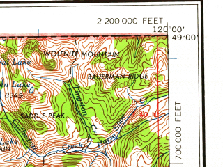 Reduced fragment of topographic map en--usgs--250k--068728--(1958)--N049-00_W122-00--N048-00_W120-00 in area of Chewack, Sauk, Skagit; towns and cities Granite Falls, Hamilton, Twisp