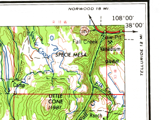 Reduced fragment of topographic map en--usgs--250k--068731--(1966)--N038-00_W110-00--N037-00_W108-00; towns and cities Cortez, Blanding, Mancos, Towaoc