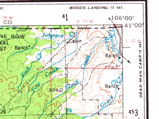 Reduced fragment of topographic map en--usgs--250k--068732--(1954)--N041-00_W108-00--N040-00_W106-00 in area of Steamboat Reservoir, Elkhead Reservoir, Lake John; towns and cities Craig, Steamboat Springs, Meeker, Oak Creek, Hayden