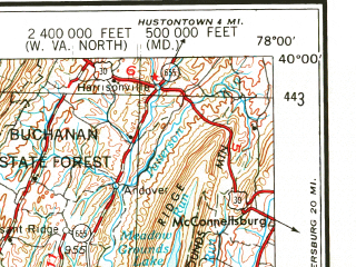 Reduced fragment of topographic map en--usgs--250k--068734--(1956)--N040-00_W080-00--N039-00_W078-00 in area of N. Br. Potomac, Cheat, Potomac; towns and cities Cumberland, Morgantown, Uniontown, Winchester, Keyser