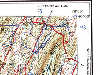 Reduced fragment of topographic map en--usgs--250k--068734--(1961)--N040-00_W080-00--N039-00_W078-00 in area of N. Br. Potomac, Cheat, Potomac; towns and cities Cumberland, Morgantown, Uniontown, Winchester, Keyser