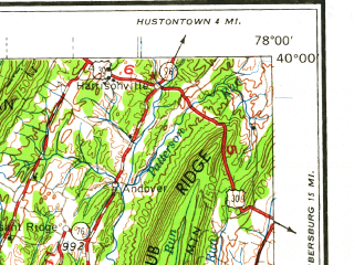 Reduced fragment of topographic map en--usgs--250k--068734--(1962)--N040-00_W080-00--N039-00_W078-00 in area of N. Br. Potomac, Cheat, Potomac; towns and cities Cumberland, Morgantown, Uniontown, Winchester, Keyser