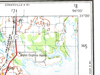 Reduced fragment of topographic map en--usgs--250k--068738--(1954)--N033-00_W098-00--N032-00_W096-00; towns and cities Dallas, Fort Worth, Arlington, Mesquite, Garland