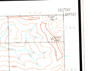 Reduced fragment of topographic map en--usgs--250k--068742--(1955)--N069-00_W165-00--N068-00_W162-00 in area of Windy Lake
