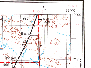 Reduced fragment of topographic map en--usgs--250k--068743--(1958)--N040-00_W090-00--N039-00_W088-00; towns and cities Decatur, Springfield, Charleston, Effingham, Mattoon