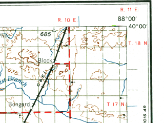 Reduced fragment of topographic map en--usgs--250k--068743--(1961)--N040-00_W090-00--N039-00_W088-00; towns and cities Decatur, Springfield, Charleston, Mattoon, Taylorville