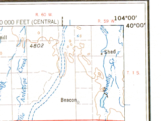 Reduced fragment of topographic map en--usgs--250k--068745--(1958)--N040-00_W106-00--N039-00_W104-00; towns and cities Denver, Aurora, Lakewood, Westminster, Thornton