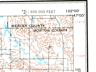 Reduced fragment of topographic map en--usgs--250k--068749--(1953)--N047-00_W104-00--N046-00_W102-00 in area of Edward Arthur Patterson Lake; towns and cities Dickinson, Gladstone, Regent, Golva