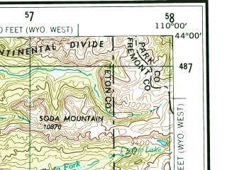 Reduced fragment of topographic map en--usgs--250k--068754--(1955)--N044-00_W112-00--N043-00_W110-00 in area of Palisades Reservoir, Buffalo Fork, Ririe Reservoir; towns and cities Rexburg, Ammon, Ririe, St. Anthony, Menan