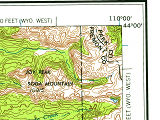 Reduced fragment of topographic map en--usgs--250k--068754--(1958)--N044-00_W112-00--N043-00_W110-00 in area of Palisades Reservoir, Buffalo Fork, Ririe Reservoir; towns and cities Rexburg, Ammon, Iona, Parker, Ucon