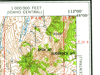 Reduced fragment of topographic map en--usgs--250k--068756--(1958)--N045-00_W114-00--N044-00_W112-00 in area of Clark Canyon Reservoir, Lima Reservoir; towns and cities Spencer, Dubois, Leadore