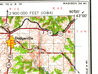 Reduced fragment of topographic map en--usgs--250k--068757--(1962)--N043-00_W092-00--N042-00_W090-00; towns and cities Dubuque, Marion, Independence, Manchester, Maquoketa