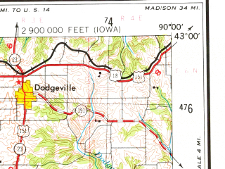 Reduced fragment of topographic map en--usgs--250k--068757--(1976)--N043-00_W092-00--N042-00_W090-00; towns and cities Dubuque, Marion, Independence, Manchester, Maquoketa